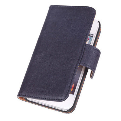 Polar Echt Lederen Navy Blue Apple iPod Touch 4 Bookstyle Wallet Hoesje