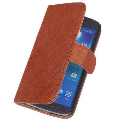 Polar Echt Lederen Bruin Hoesje voor LG L65 Bookstyle Wallet