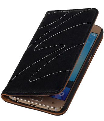 Huawei P8 Lite - Echt Leer Map Hoesje - Zwart