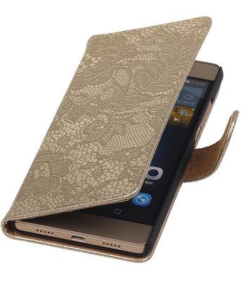 Hoesje voor Huawei P8 Lite Lace/Kant Booktype Wallet Goud