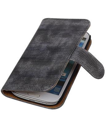 Samsung Galaxy S3 Bookstyle Hoesje - Mini Slang Grijs