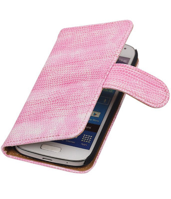 Hoesje voor Samsung Galaxy S4 mini Bookstyle - Mini Slang Roze