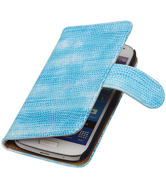 Hoesje voor Samsung Galaxy S4 mini Bookstyle - Mini Slang Turquoise