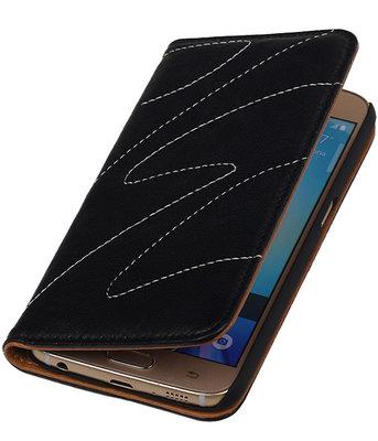 Hoesje voor Samsung Galaxy S6 - Echt Leer Map - Zwart