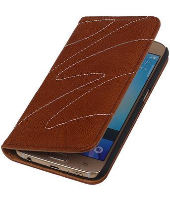 Hoesje voor Samsung Galaxy S6 - Echt Leer Map - Bruin
