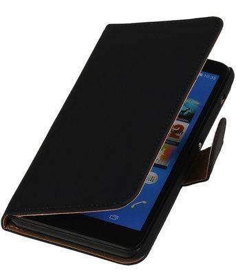 Hoesje voor Sony Xperia E4 - Effen Zwart - Booktype Wallet