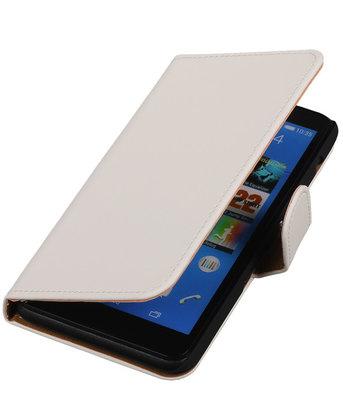 Hoesje voor Sony Xperia E4 - Effen Wit - Booktype Wallet