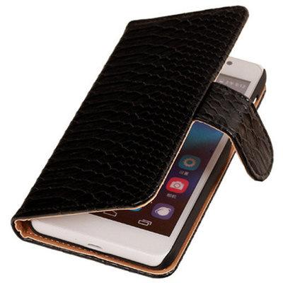 Hoesje voor Huawei Ascend G6 4G Booktype Wallet Slang Zwart