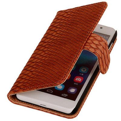 Hoesje voor Huawei Ascend G6 4G Booktype Wallet Slang Bruin