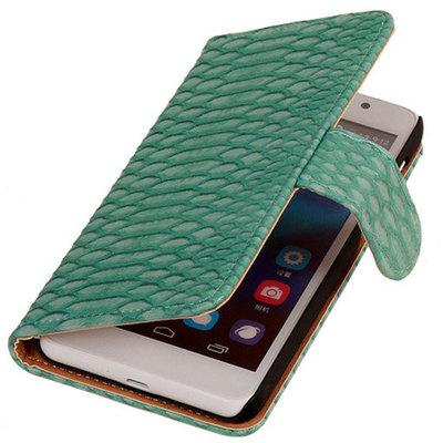 Hoesje voor Huawei Ascend G6 4G Booktype Wallet Slang Turquoise