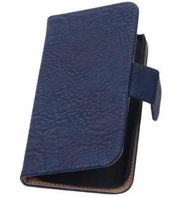 Hoesje voor Huawei Ascend G6 4G Booktype Wallet Hout Blauw