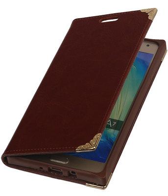 Samsung Galaxy A7 2015- Bruin TPU Map Bookstyle Hoesje