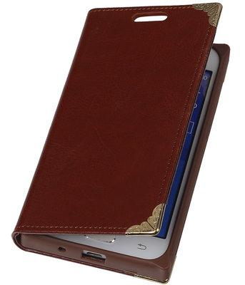 Hoesje voor Samsung Galaxy Core Prime - Bruin TPU Map Bookstyle
