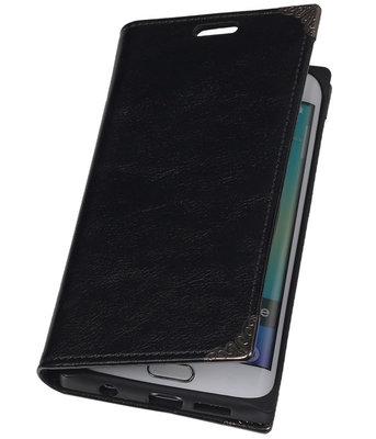Hoesje voor Samsung Galaxy S6 edge - Zwart TPU Map Bookstyle