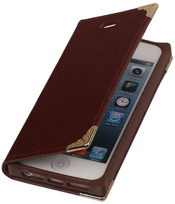 iPhone 5/5s - Bruin TPU Map Bookstyle Hoesje