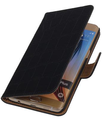 Krokodil Zwart - Hoesje voor Samsung Galaxy S6 edge Plus