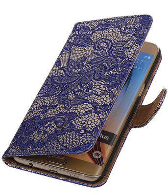 Lace/Kant Blauw - Hoesje voor Samsung Galaxy S6 edge Plus
