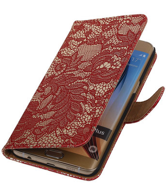 Lace/Kant Rood Hoesje - Samsung Galaxy S6 edge Plus