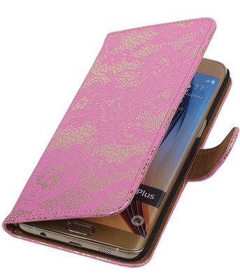 Lace/Kant Roze - Hoesje voor Samsung Galaxy S6 edge Plus