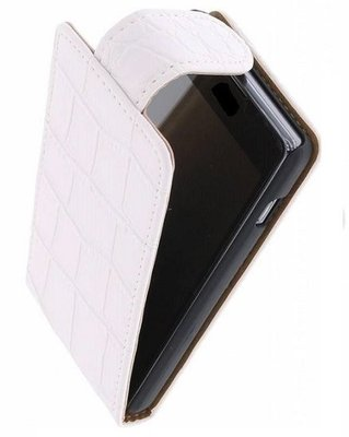 Hoesje voor HTC Desire 601 - Krokodil Wit Effen Classic Flipcase