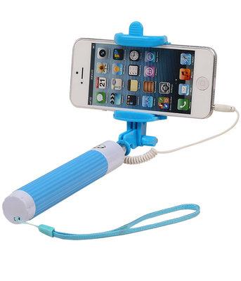 Selfie Stick 80cm zonder batterijen - Blauw