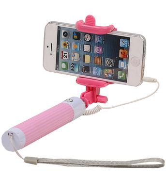 Selfie Stick 80cm zonder batterijen - Roze