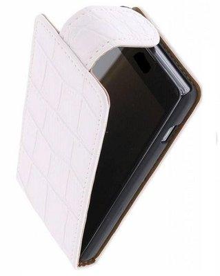 Hoesje voor Samsung Galaxy S4 Mini - Krokodil Wit Classic Flipcase
