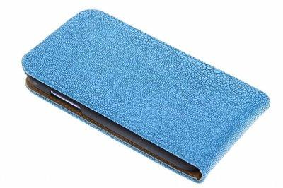 Hoesje voor Nokia Lumia 525 - Ribbel Blauw Classic Flipcase