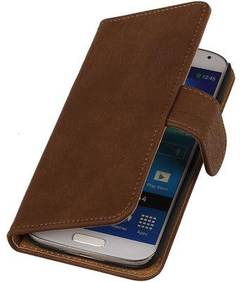 Hoesje voor Sony Xperia Z3 - Bruin Hout Look Bookstyle Wallet