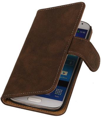 Hoesje voor Sony Xperia Z3 - Donker Bruin Hout Look Bookstyle Wallet