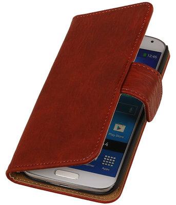 Hoesje voor Sony Xperia Z3 - Rood Hout Look Bookstyle Wallet