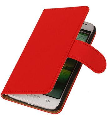 Hoesje voor Sony Xperia M2 Effen Booktype Wallet Rood