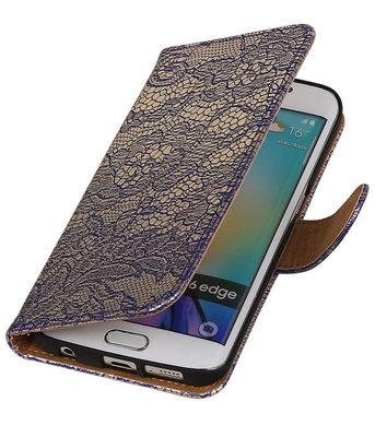 Hoesje voor Samsung Galaxy S6 Edge Lace Booktype Wallet Blauw