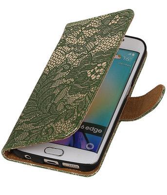 Samsung Galaxy S6 Edge Lace Booktype Wallet Hoesje Donker Groen