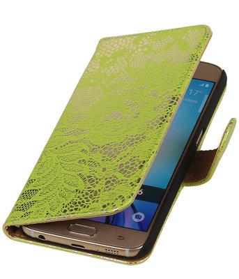 Hoesje voor Samsung Galaxy S6 Edge Lace Booktype Wallet Groen