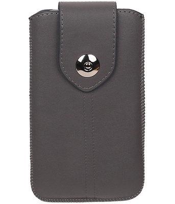Honor 7i - Luxe Leder look insteekhoes/pouch - Grijs M