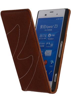 Hoesje voor Sony Xperia Z3 - Classic Echt Leer Map Flip - Bruin