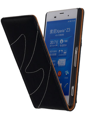 Hoesje voor Sony Xperia Z3 - Classic Echt Leer Map Flip - Zwart