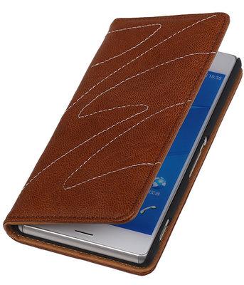 Hoesje voor Sony Xperia Z3 Compact - Echt Leer Map - Bruin
