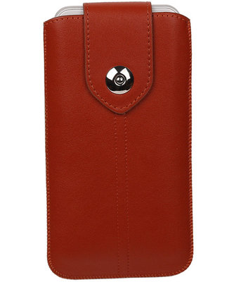 Huawei G8 - Luxe Leder look insteekhoes/pouch - Bruin i6P