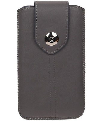 Samsung Galaxy J2 2015 - Luxe Leder look insteekhoes/pouch - Grijs M