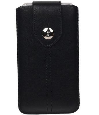 Samsung Galaxy S6 Active - Luxe Leder look insteekhoes/pouch - Zwart L