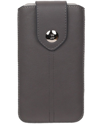 Samsung Galaxy S6 Active - Luxe Leder look insteekhoes/pouch - Grijs L