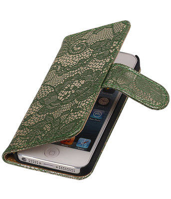 Lace Donker Groen iPhone 5 5s Book/Wallet Case/Cover Hoesje