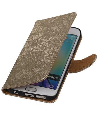 Samsung Galaxy S6 Edge Lace Booktype Wallet Hoesje Goud