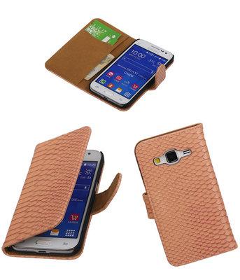 Hoesje voor Samsung Galaxy Core Prime - Slangen Roze Bookstyle