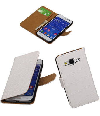 Croco Wit Hoesje voor Samsung Galaxy Core Prime Book/Wallet Case/Cover