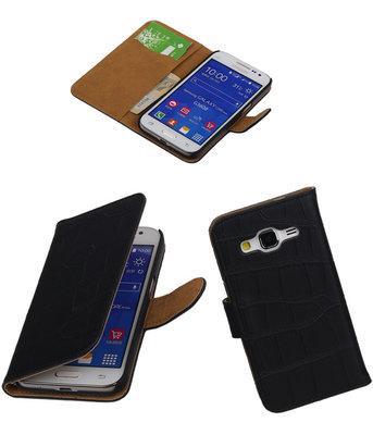 Croco Zwart Samsung Galaxy Core Prime Book/Wallet Case/Cover