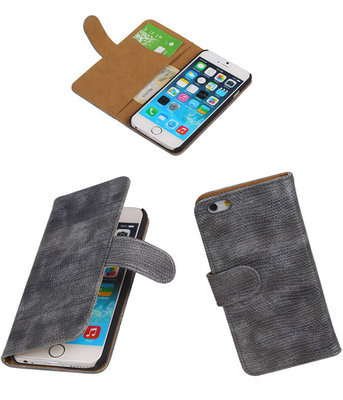 iPhone 5/5s - Booktype Wallet Hoesje Mini Slang Grijs