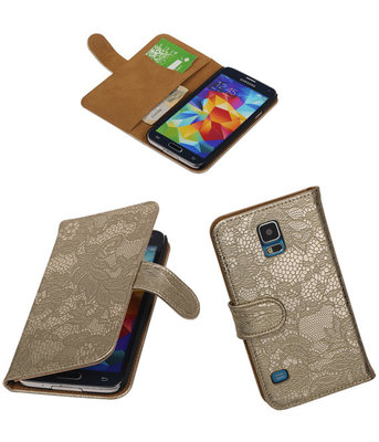 Lace Goud Hoesje voor Samsung Galaxy S5 Book/Wallet Case